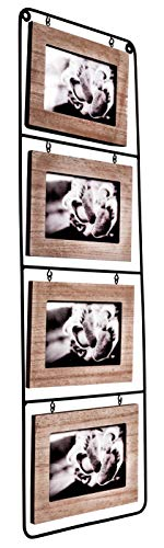(Space Art Deco Quad 6x4 Black Wire Picture Frame - Hold Four 6x4 Photos - Landscape - Wall Mounting - Black Iron - Floating Frame - Hanging Photograph - Flexible Metal Tabs (6x4 - Four))