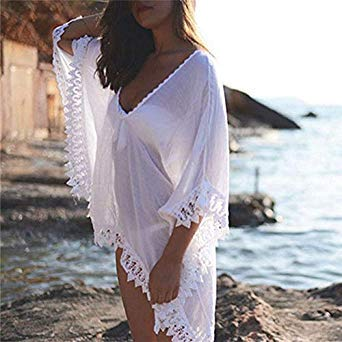 ea74f7ce4f Image Unavailable. Image not available for. Colour: Vertvie Strapless Long Beach  Dress Bikini Cover Up Swimwear Women White Lace Up Crochet Swimsuit Beach