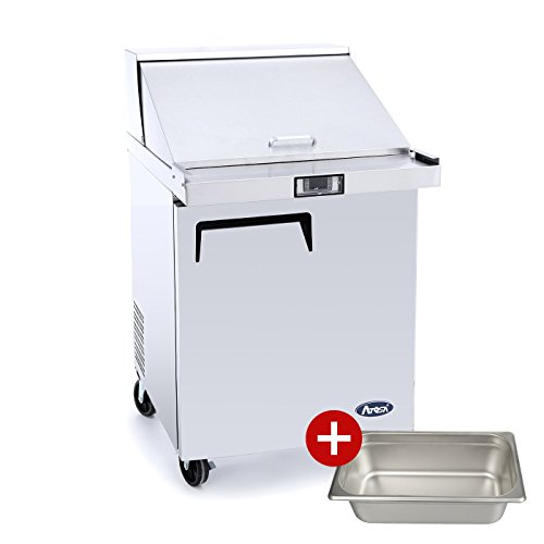 Sandwich Prep Table Refrigerator,ATOSA MSF8305 1-Door Stainless Steel Salad Prep Table-Refigerator For Restaurant Kitchen 7.9 Cu.Ft. 27.5W34D46.6H inch 33℉—38℉ - Door 1 Sandwich
