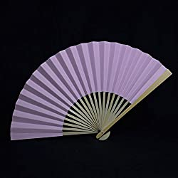 "Quasimoon 9"" Lavender Paper Hand Fans for Weddings, Premium Paper Stock (10 Pack) by PaperLanternStore"