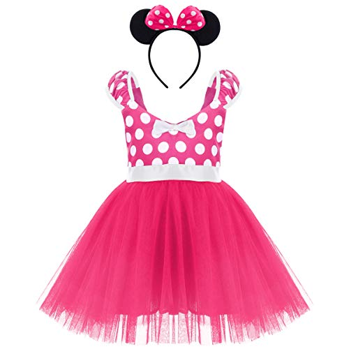 Girls Christmas Polka Dots Bowknot Princess Tutu Dress Birthday Party Cosplay Pageant Fancy Costume Mouse Ears Headband Outfits Hot Pink Short Christmas Dress & Headband 6-7 Years