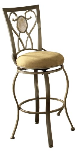 Hillsdale Brookside 24-Inch Oval Fossil Back Swivel Counter Height Stool, Brown Powder Coat Finish