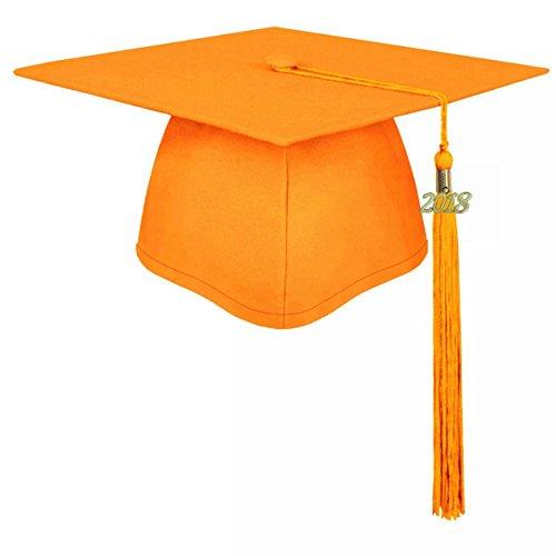 - lescapsgown Unisex Adult Graduation Cap with Tassel 2019 Year Charm-Matte Orange