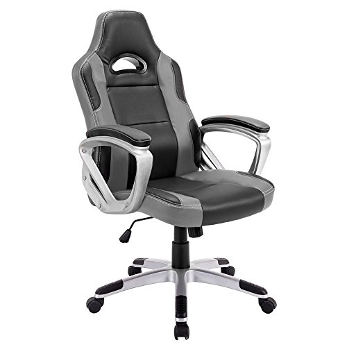 Desk Chair,IntimaTe WM Heart Racing Gaming Style PU Leather Swivel Office Chair Recliner Tilt & Lock Function Executive Computer Task Chair (Gray)