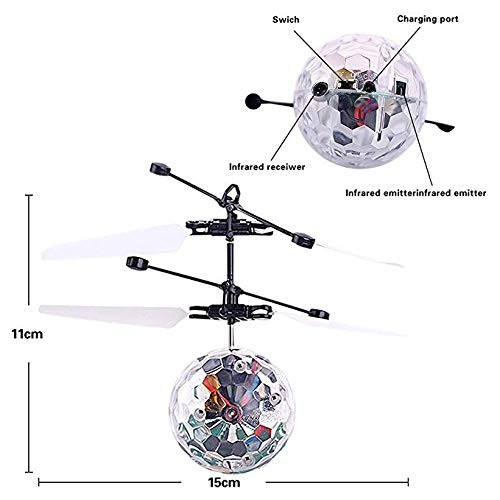 Kids Flying Ball Crystal Flashing LED Light Flying Ball RC Toy RC Infrared Induction Helicopter for Kids, Teenagers Colorful Flyings Toy for Boys and Girls Gift. (Colorful Light) by Wecolor (Image #2)