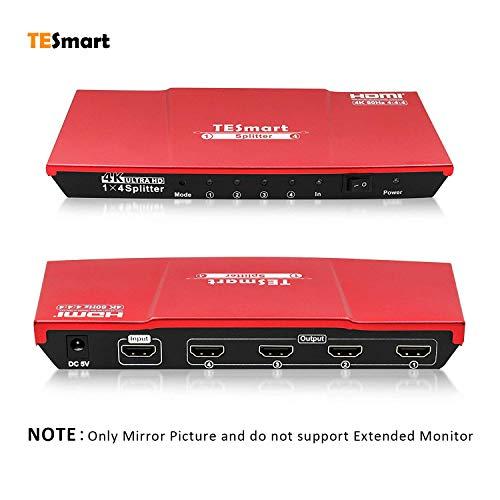 TESmart Ultra HD 4K@60Hz 4:4:4 V2.0 Certified 1x4 HDMI Splitter, 1x4 HDMI Splitter 1 in 4 Out,HDMI Splitter 1 to 4 Amplifier Switcher Box Hub Powered with UHD (Red)