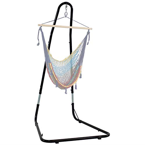 Sunnydaze Adjustable Hammock Chair Stand for Hanging Chairs - Adjusts Between 79 to 93 Inches Tall, Heavy-Duty 330 Pound Capacity