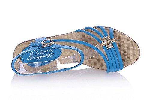 Amoonyfashion Donna Open Toe Tacco Alto Zeppa Materiale Morbido Pu Sandali Solidi Con Fibbia Blu