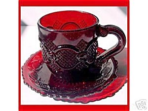 Avon Cape Cod Ruby Red Cup Saucer Set