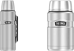 Thermos Stainless King 40 Ounce Beverage Bottle, Stainless Steel & Stainless King 24 Ounce Food Jar, Stainless Steel