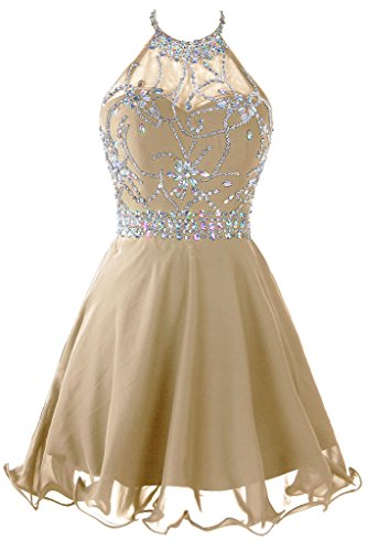 9790ae2e75b Galleon - Topdress Women s Short Beaded Prom Dress Halter Homecoming Dress  Backless Champagne US 4
