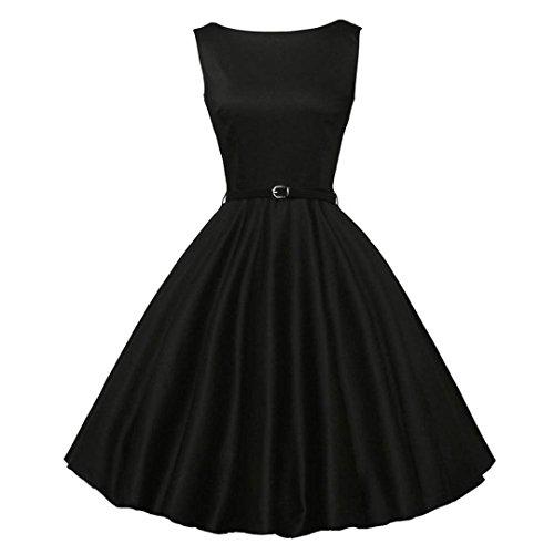 (Kintaz BoatNeck Sleeveless Vintage Tea Dress with Belt (Solid Black, Size:M))