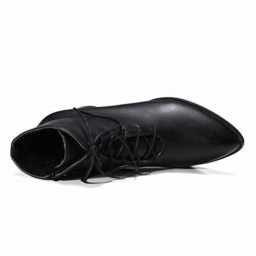 YE Damen Blockabsatz Ankle Boots High Heels Stiefeletten mit Schnürung und Reißverschluss Elegant Modern Schuhe Schwarz
