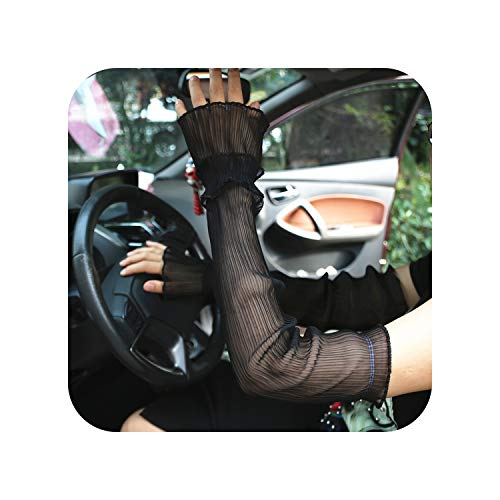 Summer Sun Protection Sleeve Gloves Long Thin Anti Ultraviolet Ice Silk Driving Arm Sleeves Lady Breathable Mittens H3120Black