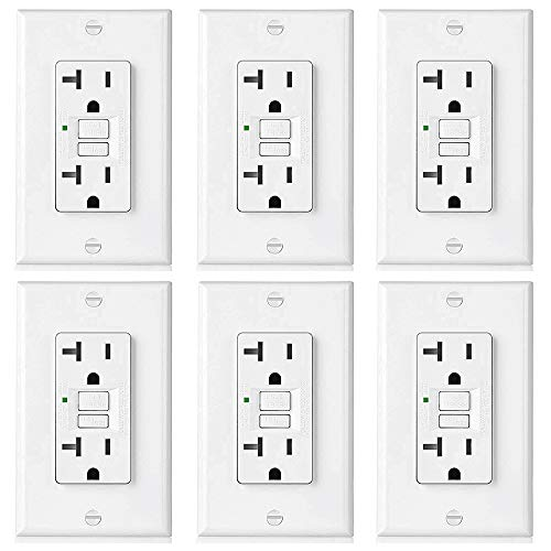 [6 Pack] BESTTEN 20-Amp GFCI Outlet, Slim GFI Receptacle with LED Indicator, Ground Fault Circuit Interrupter, Decorator Wall Plate Included, UL Listed, White, USG5 Series ()