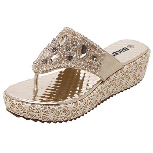 Dames Mode Compensée Tongs Strass Or De Pour Chaussures Pantoufles D'été Perlée Femmes qTxzXv