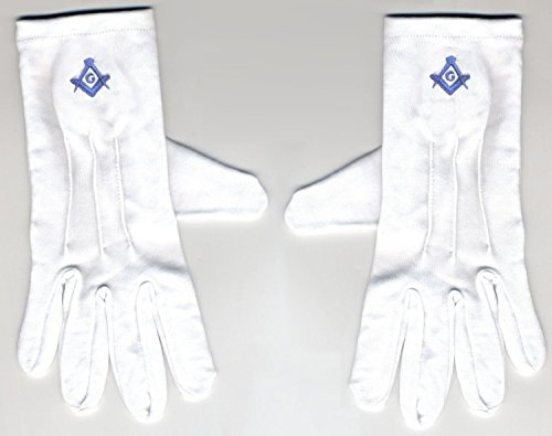 (Size Large Embroidered / Stitched Blue LOGO Gloves, Masonic Logo Mason, Freemason Freemasons Free Mason Masons Masonic Masonry Freemasonry Past Masters' Emblem Shriner,york Scottish Rite, ,Grotto,movper, Craft Lodge Entered Apprentice Fellowcraft Master Rose Croix Lodge Perfection, Commandery Knights Templar)