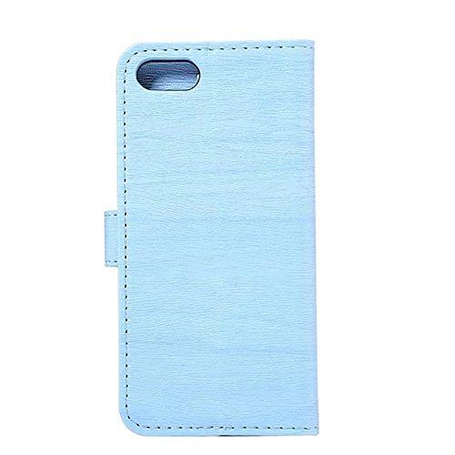 Hülle für iPhone 7 ,Schutzhülle Für iPhone 7 Hölzernes Beschaffenheits-Muster PU-lederner Mappen-Kasten-Abdeckung ,cover für apple iPhone 7,case for iphone 7 ( Color : Blue )