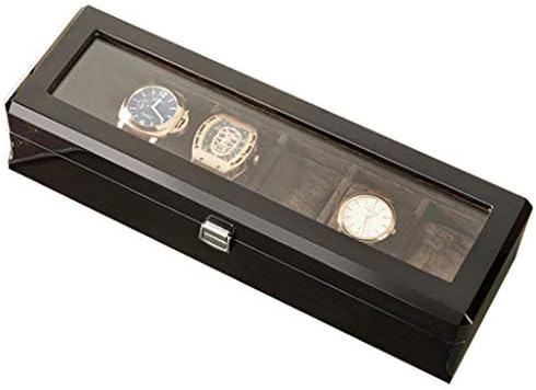 Caja de soporte de reloj de madera vintage Tapa de vidrio 6 ranuras Relojes Caja de almacenamiento de exhibición de joyería Caja Bandeja de pulsera Cierre de metal Cajas de colección negras: