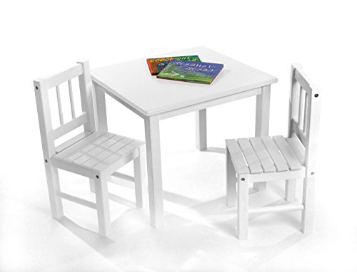Lipper International 513W Child's Table and 2 Chairs, White by Lipper International