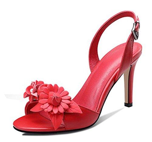 ZLIDS Srta. Summer Sandals Moda Stereo Flower Leather Punta Redonda Zapatos De Fiesta De Baile Stiletto Blanco Negro Rojo Red