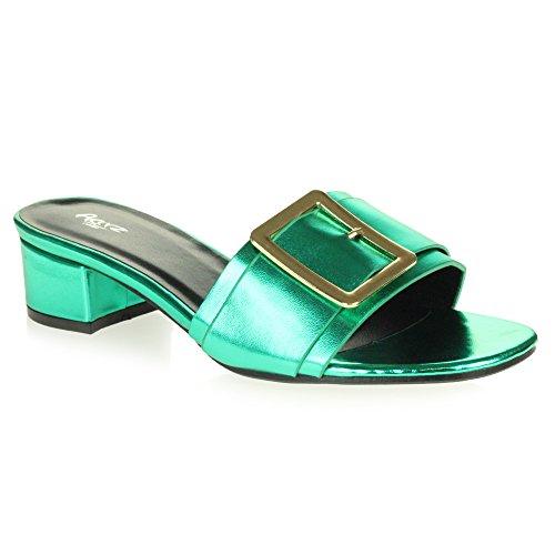 sur Bloquer Vert Fête Soir Décontractée Glisser Dames des Chaussures Confort Toe Sandales Brillant Talon Taille Femmes Le Open xPwqSTH00