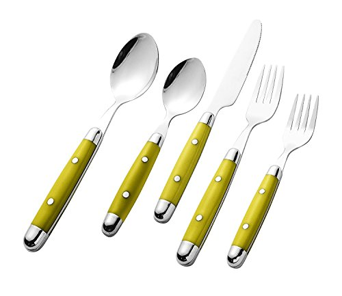 Intriom 20 piece Cutlery Flatware Set (4-Sets) Stainless Steel Mustard/Yellow (Color Cutlery Set)