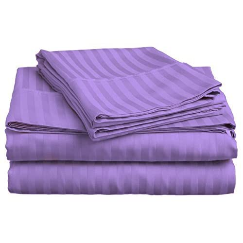 Cheap Laxlinen 450 Thread Count 100% Egyptian Cotton Super Quality 1PC Flat Sheet(Top Sheet) Twin Extra Long Bed Size, Lavender/Lilac Stripe free shipping