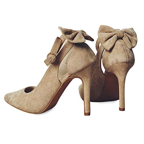 Fashare Womens Pointed Toe Pumps High Heels Bowtie Back Ankle Buckle Strap D'Orsay Dress Shoes Beige