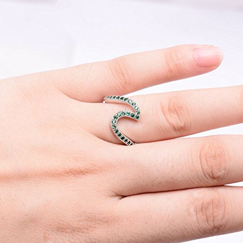 Silver White Gold Wave Ring-Platinum Plated Copper Cubic Zirconia Birthstone Engagement Rings for Women