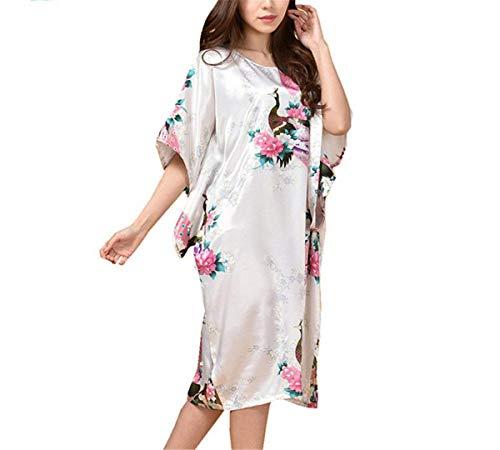 Tunica Seta Stampa Pavone Shine Notte Donna Faux Bianca Riscaldamento Raso Kimono Abito Donne Pigiama Classiche Fashion Color Da In Laisla Camicia P8qvS