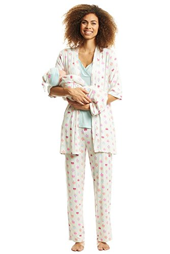 Everly Grey Women's 5 Piece Maternity and Nursing PJ Pant Set for Mom and Baby, Cupcakes Gown/Hat, Medium