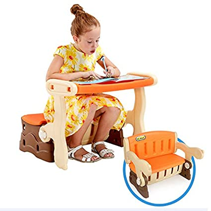 Awe Inspiring 3 In 1 Kids Desk Chair Set With Storage Box Bin Childrens Sturdy Multi Function Plastic Portable Table Converts To Bench Easily Study Table Inzonedesignstudio Interior Chair Design Inzonedesignstudiocom