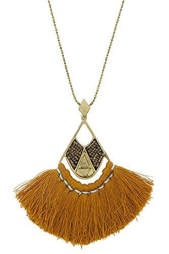 Aztec Costume Uk (THE JEWEL RACK AZTEC GEOMETRIC TRIANGLE TASSEL PENDANT NECKLACE (Rust))