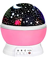 Birthday GiftsFor 2-10 Year Old, WIKI LED Night Light Lamp Relaxing Light for Kids Moon Star Toys for 2-10 Year Old Girls Gifts for 2-10 Year Old Gifts Girls Toys Age 2-10 Pink WKCAXKD09
