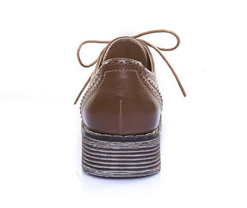 AllhqFashion Mujer Microfibra Cordón Tacón Bajo Puntera Redonda ZapatosdeTacón Caqui