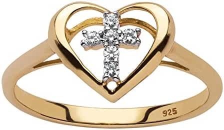 White Diamond Accent 18k Yellow Gold over .925 Sterling Silver Floating Cross Heart Ring