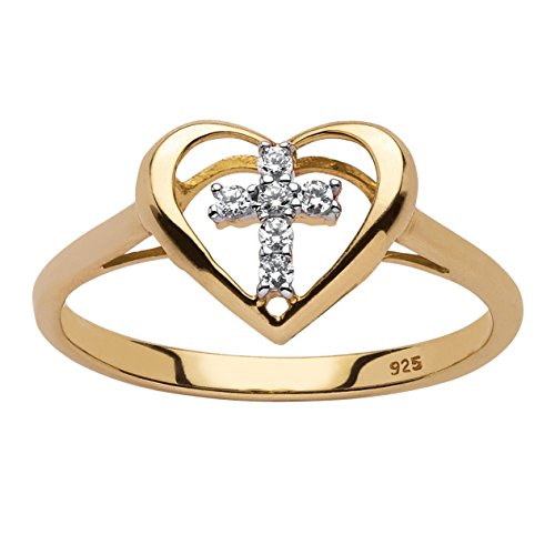 - White Diamond Accent 18k Yellow Gold over .925 Sterling Silver Floating Cross Heart Ring Size 9