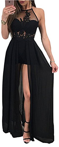 Embroidered Dress Lace Halter - Vamvie Women's Sexy Lace Halter Floral Embroidered See Through Romper Jumpsuit Chiffon Maxi Dress Black M