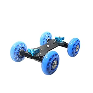 New Table Top Dolly Mini Car Skater Track Slider Super Mute for Dslr Camera Camcorder Blue