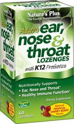 (Natures Plus Adults Ear, Nose & Throat Lozenges with K12 Probiotics - 60 Tropical Cherry Berry Flavor Lozenges - Immune System Booster, Promotes Clean Breath - Gluten Free - 30 Servings)