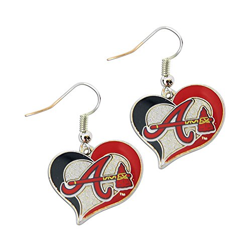 (aminco MLB Atlanta Braves Team Logo Swirl Heart Earring Sports Fan)