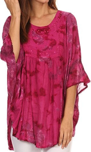 Hippie Tunic Blouse - Sakkas 16031 - Cleeo Long Wide Tie Dye Lace Embroidered Sequin Poncho Blouse Top Cover Up - Fuchsia - OS