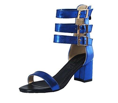 Vestir Azul Cremallera Tacón Abierta Medio Mujeres Puntera Agoolar Gmxlb009747 Sandalias De qwR1gFn8A