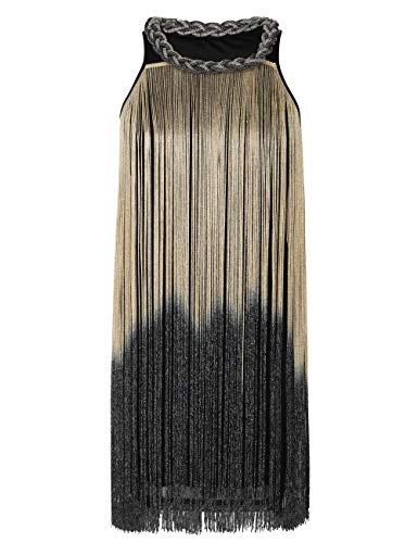 kayamiya Women's Art Deco 1920s Gatsby Fringe Prom Party Flapper Dress Ombre L Beige