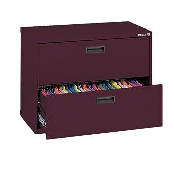 Sandusky 400 Series Burgundy Steel Lateral File Cabinet With Plastic  Handle, 30