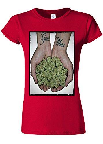 チャンピオンシップ湿度反乱Good Vibes Weed Cannabis Drug High Novelty Cherry Red Women T Shirt Top-XL