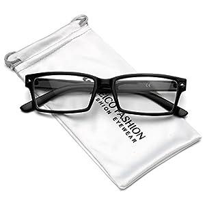 Horn Rimmed Men's Rectangular Clear Lens Glasses (Black, 53)