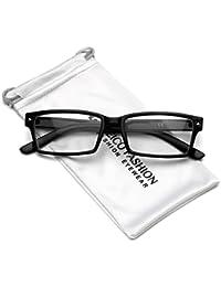 Cuerno de los hombres rectangular con borde transparente lente anteojos