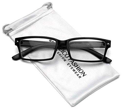 ctangular Clear Lens Glasses (Black, 53) ()